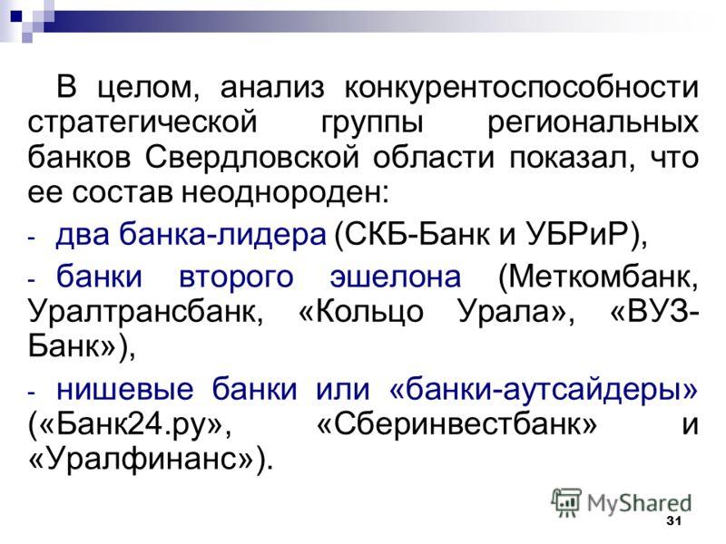 31 В целом, анализ конкурентоспособности стратегической группы региональных банков Свердловской области показал, что ее состав неоднороден: - два банка-лидера (СКБ-Банк и УБРиР), - банки второго эшелона (Меткомбанк, Уралтрансбанк, «Кольцо Урала», «ВУ