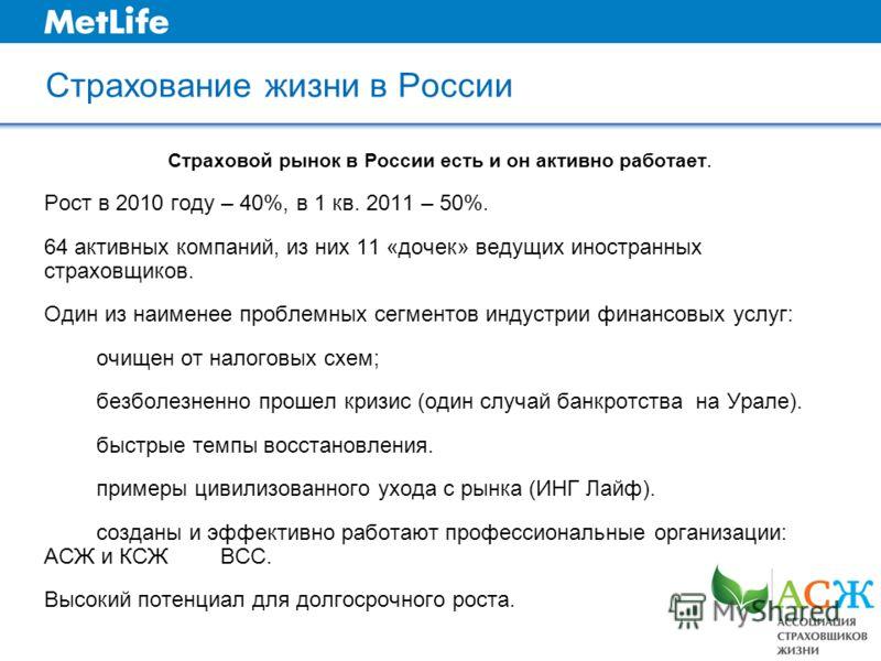 Страхование жизни в России Страховой рынок в России есть и он активно работает. Рост в 2010 году – 40%, в 1 кв. 2011 – 50%. 64 активных компаний, из них 11 «дочек» ведущих иностранных страховщиков. Один из наименее проблемных сегментов индустрии фина