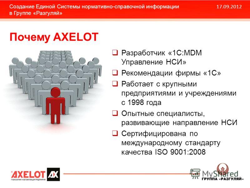 Разработчик «1С:MDM Управление НСИ» Рекомендации фирмы «1С» Работает с крупными предприятиями и учреждениями с 1998 года Опытные специалисты, развивающие направление НСИ Сертифицирована по международному стандарту качества ISO 9001:2008 17.09.2012 Со