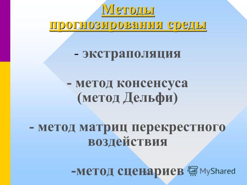 13 Методы прогнозирования среды Методы прогнозирования среды - экстраполяция - метод консенсуса (метод Дельфи) - метод матриц перекрестного воздействия -метод сценариев