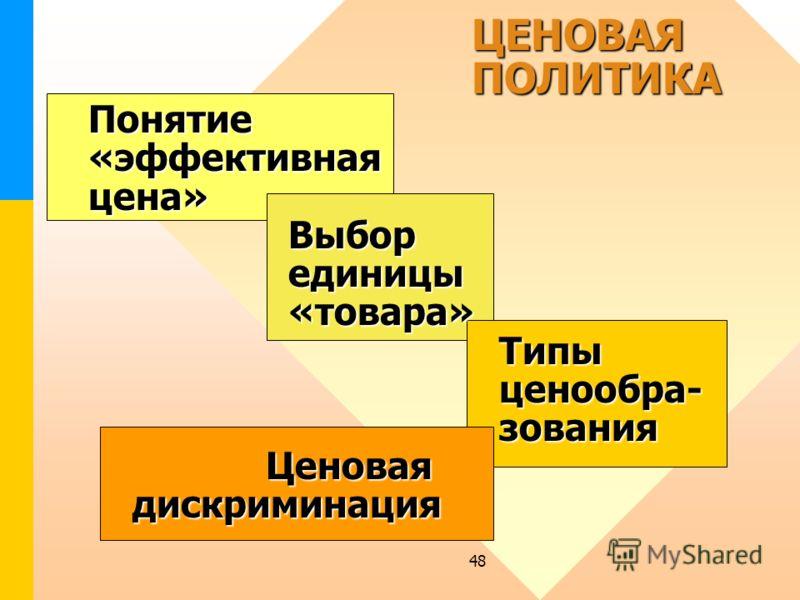 48 ЦЕНОВАЯ ПОЛИТИКА Понятие «эффективная цена» Выбор единицы «товара» Типы ценообра- зования Ценовая дискриминация ЦЕНОВАЯ ПОЛИТИКА Понятие «эффективная цена» Выбор единицы «товара» Типы ценообра- зования Ценовая дискриминация