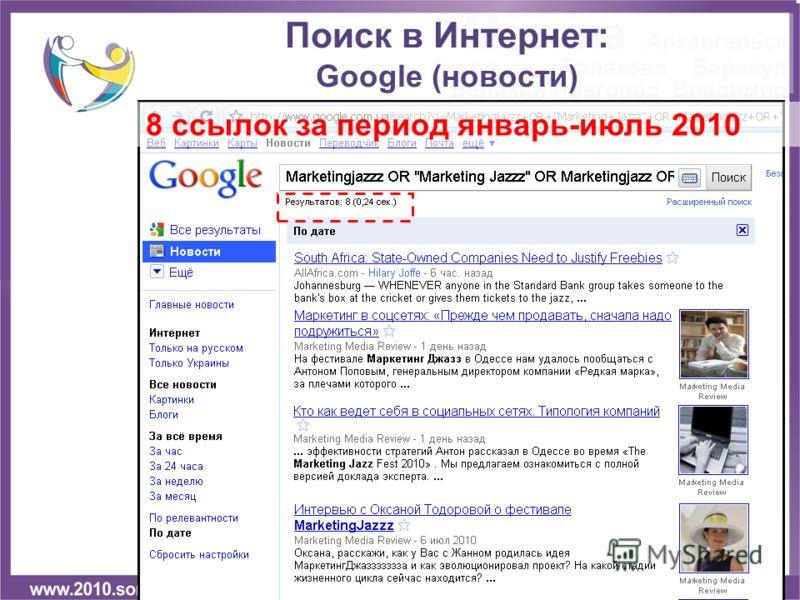 8 ссылок за период январь-июль 2010 Поиск в Интернет: Google (новости)