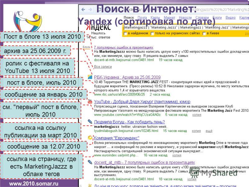 Пост в блоге 13 июля 2010 архив за 25.06.2009 г. ролик с фестиваля на YouTube 13 июля 2010 сообщение за январь 2010 Поиск в Интернет: Yandex (сортировка по дате) пост в блоге, июль 2010 ссылка на ссылку публикации за март 2010 сообщение за 12.07.2010
