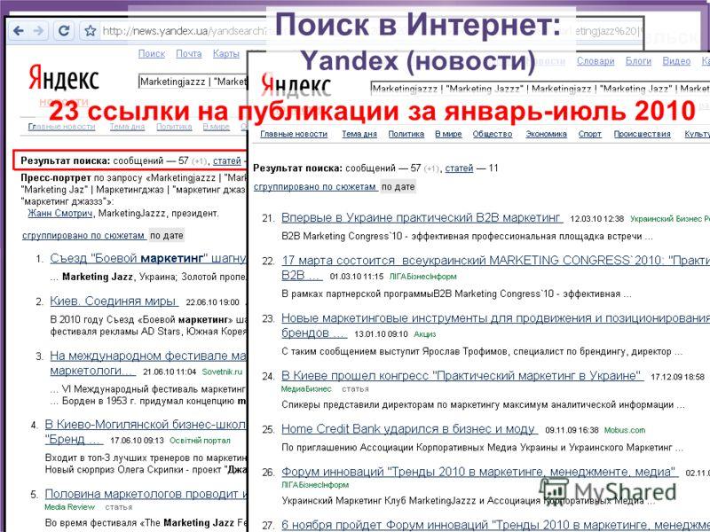 Поиск в Интернет: Yandex (новости) 23 ссылки на публикации за январь-июль 2010
