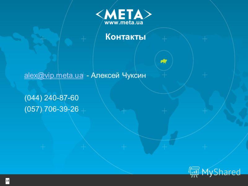 18 Контакты alex@vip.meta.uaalex@vip.meta.ua - Алексей Чуксин (044) 240-87-60 (057) 706-39-26