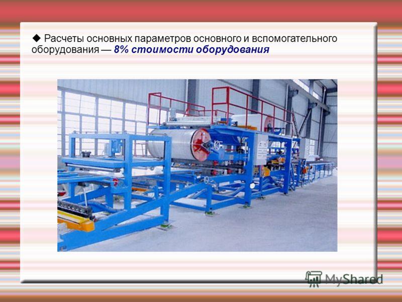 Расчеты основных параметров основного и вспомогательного оборудования 8% стоимости оборудования