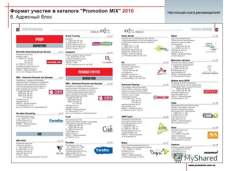 Формат участия в каталоге Promotion MIX 2010 6. Адресный блок