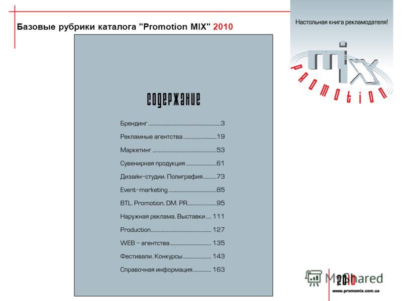 Базовые рубрики каталога Promotion MIX 2010