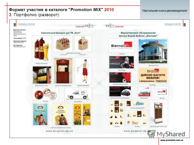 Формат участия в каталоге Promotion MIX 2010 3. Портфолио (разворот)