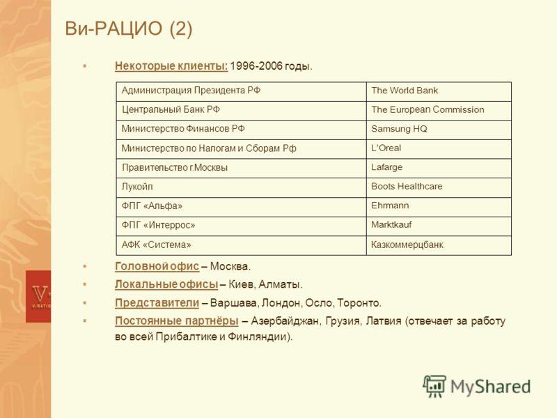 Ви-РАЦИО (2) Некоторые клиенты: 1996-2006 годы. Головной офис – Москва. Локальные офисы – Киев, Алматы. Представители – Варшава, Лондон, Осло, Торонто. Постоянные партнёры – Азербайджан, Грузия, Латвия (отвечает за работу во всей Прибалтике и Финлянд