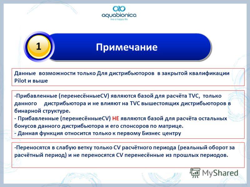 Примечание 1 -Прибавленные (перенесённыеCV) являются базой для расчёта TVC, только данного дистрибьютора и не влияют на TVC вышестоящих дистрибьюторов в бинарной структуре. - Прибавленные (перенесённыеCV) НЕ являются базой для расчёта остальных бонус