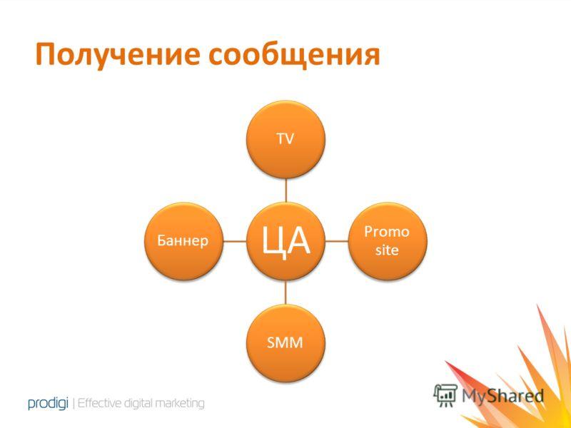 Получение сообщения ЦА TV Promo site SMMБаннер