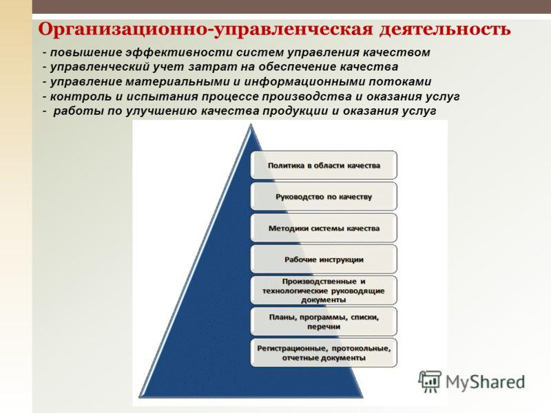 Организационно-управленческая деятельность - повышение эффективности систем управления качеством - управленческий учет затрат на обеспечение качества - управление материальными и информационными потоками - контроль и испытания процессе производства и