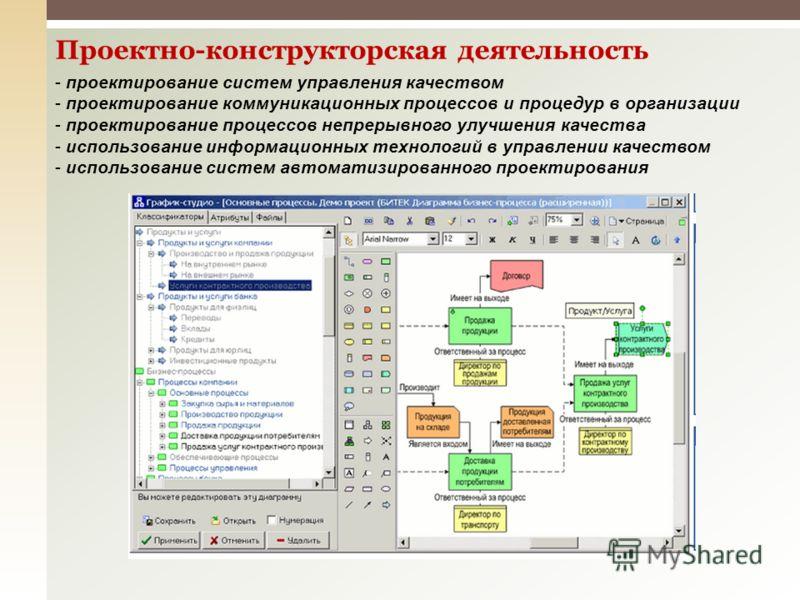 Проектно-конструкторская деятельность - проектирование систем управления качеством - проектирование коммуникационных процессов и процедур в организации - проектирование процессов непрерывного улучшения качества - использование информационных технолог