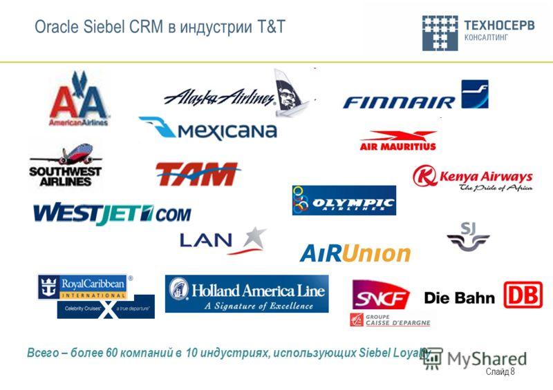 Слайд 8 Oracle Siebel CRM в индустрии T&T Всего – более 60 компаний в 10 индустриях, использующих Siebel Loyalty