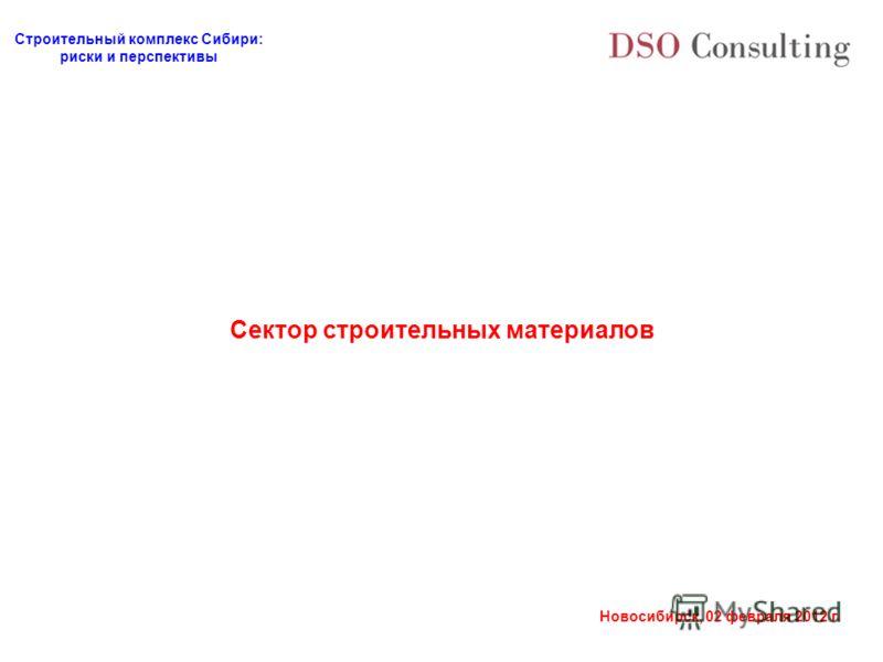 Строительный комплекс Сибири: риски и перспективы Новосибирск, 02 февраля 2012 г. Сектор строительных материалов