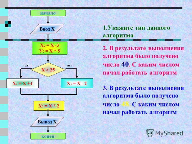 1.Укажите тип данного алгоритма 2.В результате выполнения алгоритма было получено Z= 60. Укажите пропущенный оператор Х : = 6 Y : = 8 Z : = Х ? Y Z : = Z + 12 Вывод Z начало конец