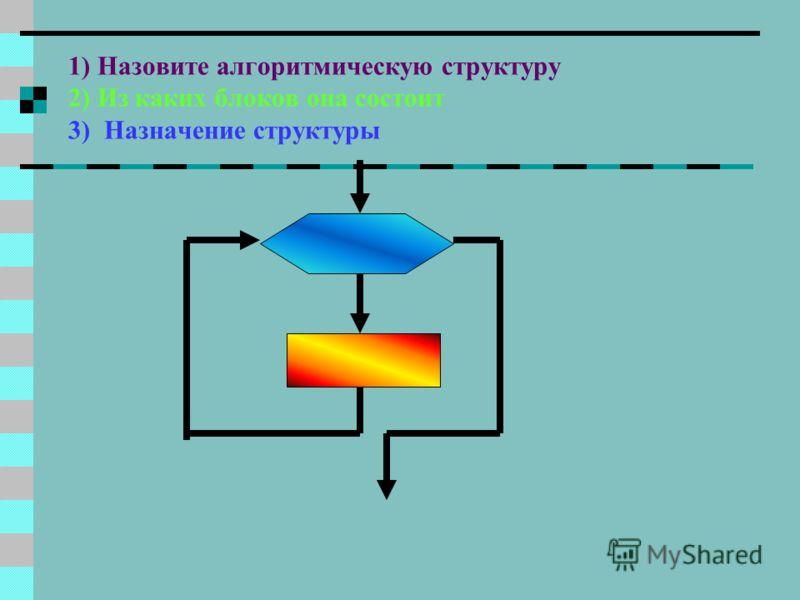1)Назовите алгоритмическую структуру 2) Из каких блоков она состоит 3)Назначение структуры