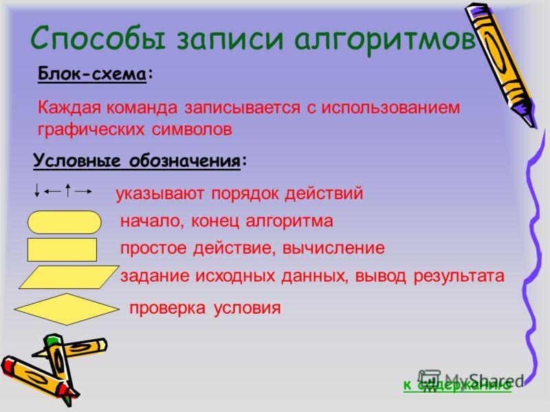 Способы записи алгоритмов Блок-схема: Каждая команда записывается с использованием графических символов Условные обозначения: указывают порядок действий начало, конец алгоритма простое действие, вычисление задание исходных данных, вывод результата пр
