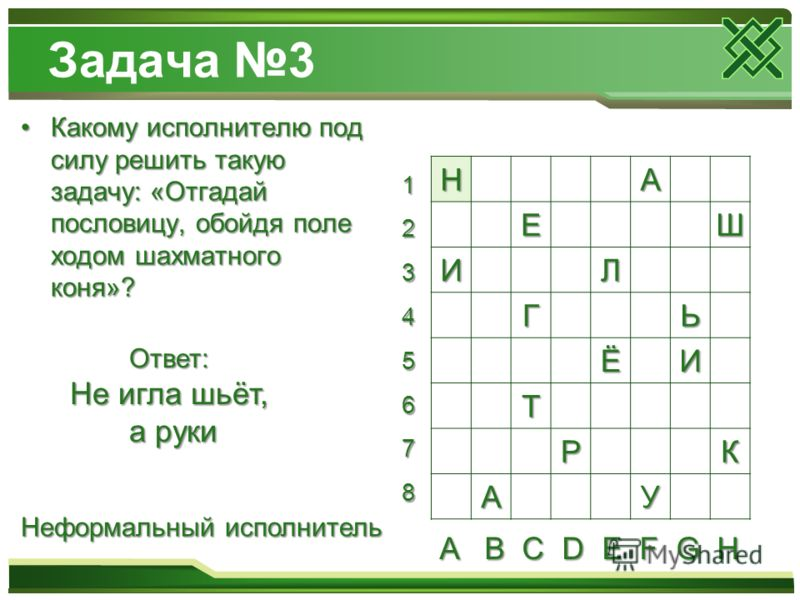 Задача 3 Какому исполнителю под силу решить такую задачу: «Отгадай пословицу, обойдя поле ходом шахматного коня»?Какому исполнителю под силу решить такую задачу: «Отгадай пословицу, обойдя поле ходом шахматного коня»? НА ЕШ ИЛ ГЬ ЁИ Т РК АУ Ответ: Не