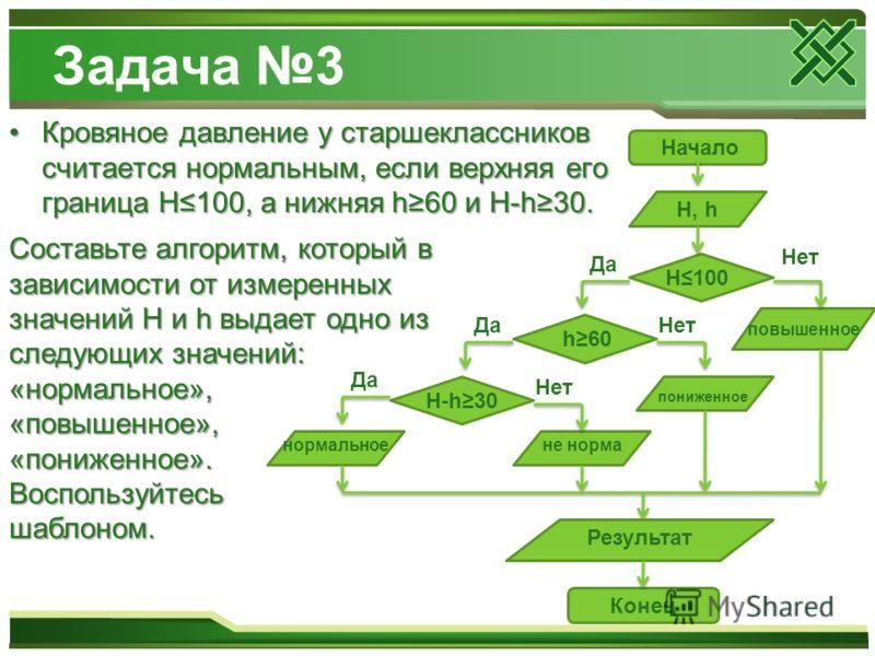 Задача 3 Кровяное давление у старшеклассников считается нормальным, если верхняя его граница H100, а нижняя h60 и H-h30.Кровяное давление у старшеклассников считается нормальным, если верхняя его граница H100, а нижняя h60 и H-h30. Составьте алгоритм