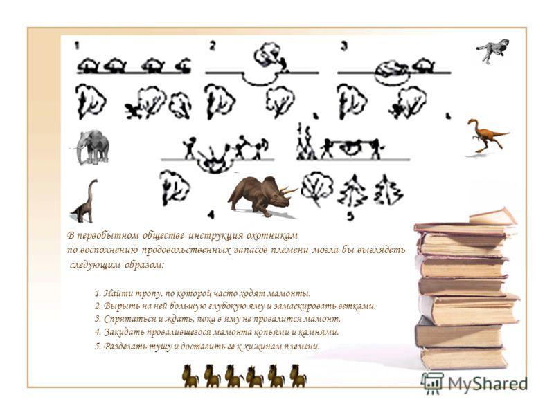 В первобытном обществе инструкция охотникам по восполнению продовольственных запасов племени могла бы выглядеть следующим образом: 1. Найти тропу, по которой часто ходят мамонты. 2. Вырыть на ней большую глубокую яму и замаскировать ветками. 3. Спрят