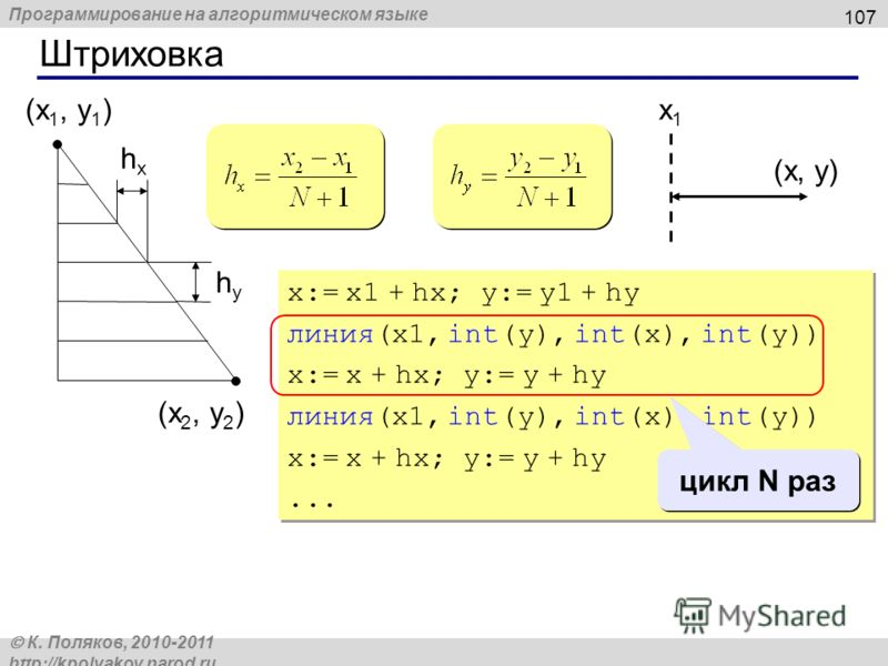 Программирование на алгоритмическом языке К. Поляков, 2010-2011 http://kpolyakov.narod.ru Штриховка 107 (x 1, y 1 ) (x 2, y 2 ) hxhx hyhy x:= x1 + hx; y:= y1 + hy линия(x1, int(y), int(x), int(y)) x:= x + hx; y:= y + hy линия(x1, int(y), int(x), int(