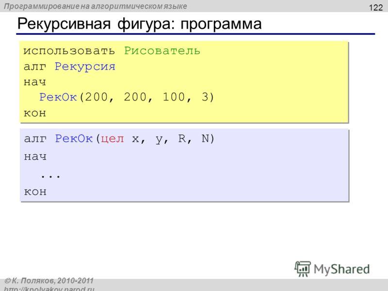 Программирование на алгоритмическом языке К. Поляков, 2010-2011 http://kpolyakov.narod.ru Рекурсивная фигура: программа 122 использовать Рисователь алг Рекурсия нач РекОк(200, 200, 100, 3) кон использовать Рисователь алг Рекурсия нач РекОк(200, 200,