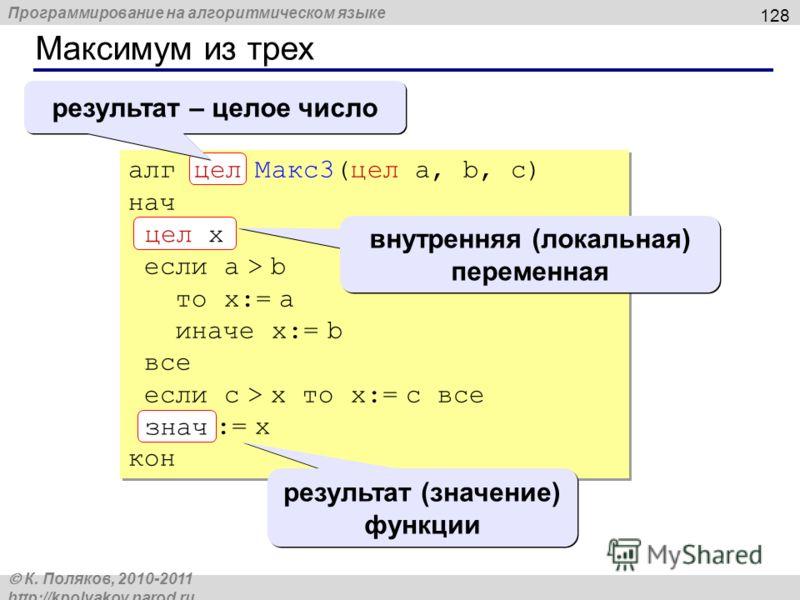 Программирование на алгоритмическом языке К. Поляков, 2010-2011 http://kpolyakov.narod.ru Максимум из трех 128 алг цел Макс3(цел a, b, c) нач цел x если a > b то x:= a иначе x:= b все если c > x то x:= c все знач := x кон знач цел x цел результат – ц