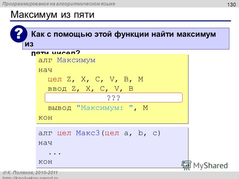 Программирование на алгоритмическом языке К. Поляков, 2010-2011 http://kpolyakov.narod.ru Максимум из пяти 130 Как с помощью этой функции найти максимум из пяти чисел? ? алг Максимум нач цел Z, X, C, V, B, M ввод Z, X, C, V, B M:= Макс3( Макс3(Z,X,C)