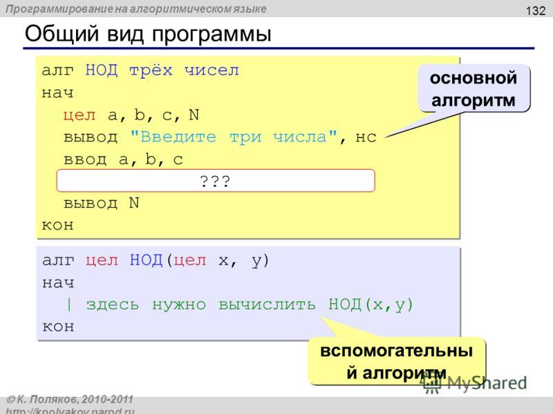 Программирование на алгоритмическом языке К. Поляков, 2010-2011 http://kpolyakov.narod.ru Общий вид программы 132 алг НОД трёх чисел нач цел a, b, c, N вывод