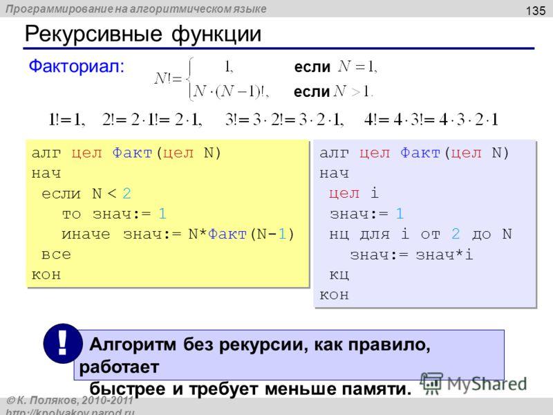 Программирование на алгоритмическом языке К. Поляков, 2010-2011 http://kpolyakov.narod.ru Рекурсивные функции 135 Факториал: если алг цел Факт(цел N) нач если N < 2 то знач:= 1 иначе знач:= N*Факт(N-1) все кон алг цел Факт(цел N) нач если N < 2 то зн