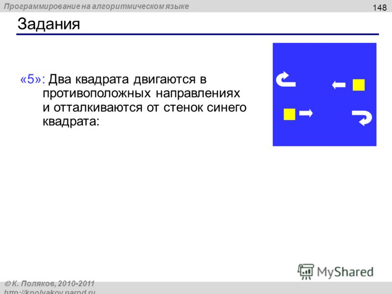 Программирование на алгоритмическом языке К. Поляков, 2010-2011 http://kpolyakov.narod.ru Задания 148 «5»: Два квадрата двигаются в противоположных направлениях и отталкиваются от стенок синего квадрата:
