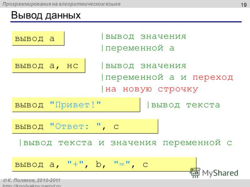 Программирование на алгоритмическом языке К. Поляков, 2010-2011 http://kpolyakov.narod.ru Вывод данных 19 |вывод значения |переменной a |вывод значения |переменной a и переход |на новую строчку |вывод текста |вывод текста и значения переменной c выво