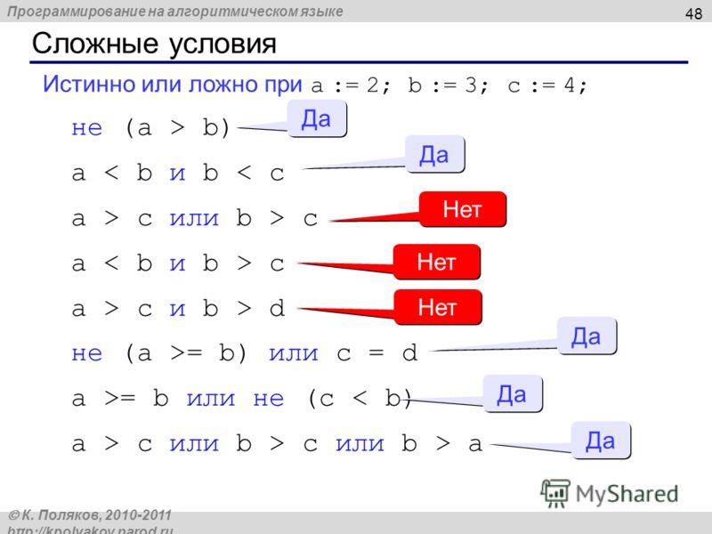 Программирование на алгоритмическом языке К. Поляков, 2010-2011 http://kpolyakov.narod.ru Сложные условия 48 Истинно или ложно при a := 2; b := 3; c := 4; не (a > b) a < b и b < c a > c или b > c a c a > c и b > d не (a >= b) или c = d a >= b или не