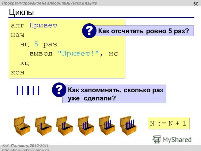 Программирование на алгоритмическом языке К. Поляков, 2010-2011 http://kpolyakov.narod.ru Циклы 60 алг Привет нач нц 5 раз вывод