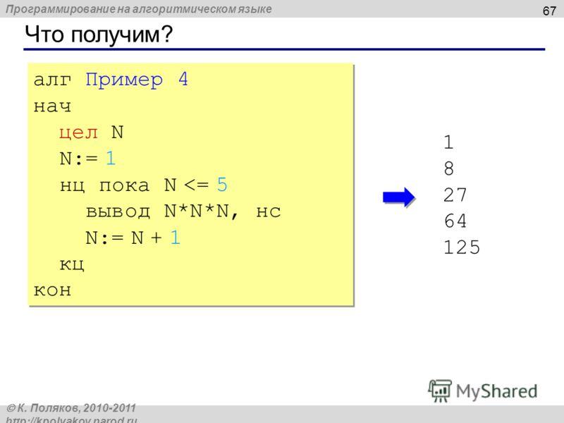 Программирование на алгоритмическом языке К. Поляков, 2010-2011 http://kpolyakov.narod.ru Что получим? 67 алг Пример 4 нач цел N N:= 1 нц пока N