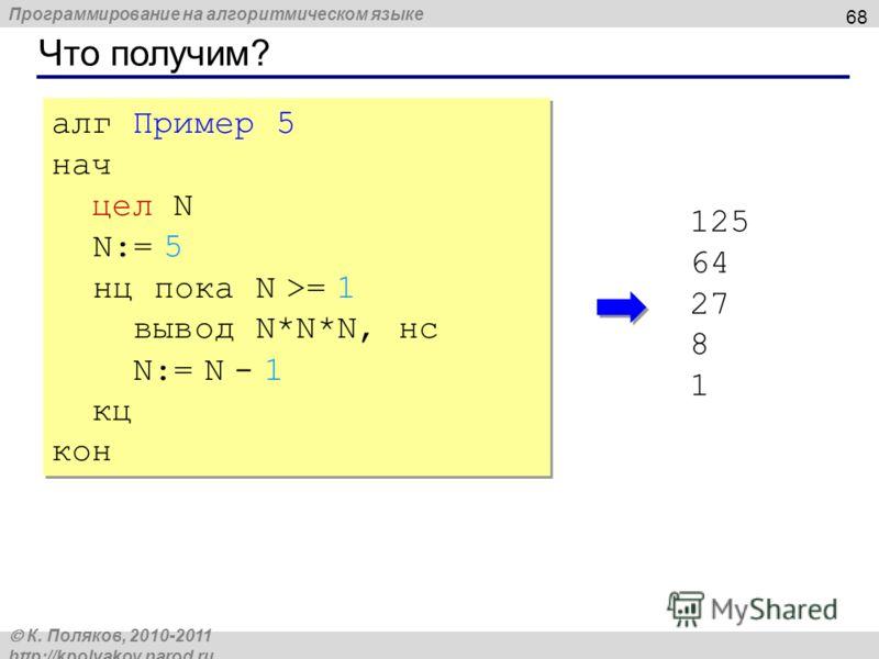 Программирование на алгоритмическом языке К. Поляков, 2010-2011 http://kpolyakov.narod.ru Что получим? 68 алг Пример 5 нач цел N N:= 5 нц пока N >= 1 вывод N*N*N, нс N:= N - 1 кц кон алг Пример 5 нач цел N N:= 5 нц пока N >= 1 вывод N*N*N, нс N:= N -