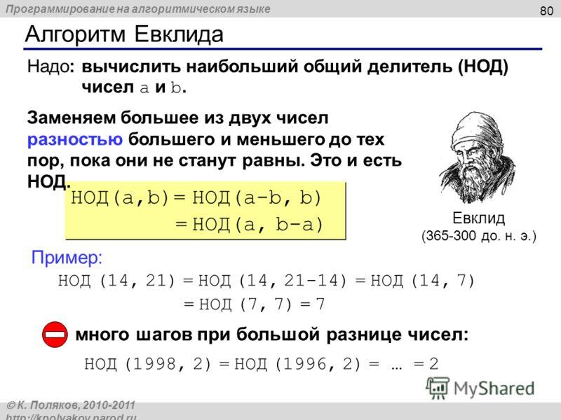 Программирование на алгоритмическом языке К. Поляков, 2010-2011 http://kpolyakov.narod.ru Алгоритм Евклида 80 Евклид (365-300 до. н. э.) НОД(a,b)= НОД(a-b, b) = НОД(a, b-a) НОД(a,b)= НОД(a-b, b) = НОД(a, b-a) Заменяем большее из двух чисел разностью