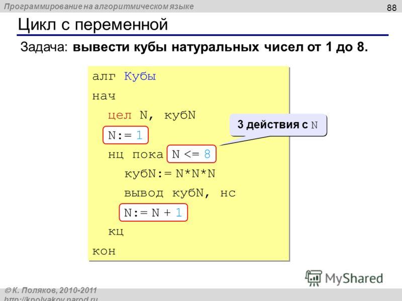 Программирование на алгоритмическом языке К. Поляков, 2010-2011 http://kpolyakov.narod.ru Цикл с переменной 88 Задача: вывести кубы натуральных чисел от 1 до 8. алг Кубы нач цел N, кубN N:= 1 нц пока N