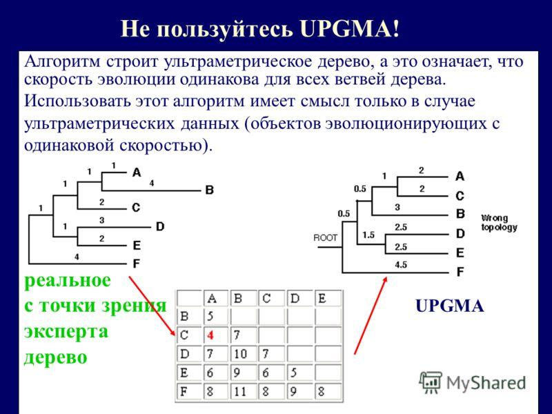 Не пользуйтесь UPGMA! Алгоритм строит ультраметрическое дерево, а это означает, что скорость эволюции одинакова для всех ветвей дерева. Использовать этот алгоритм имеет смысл только в случае ультраметрических данных (объектов эволюционирующих с одина