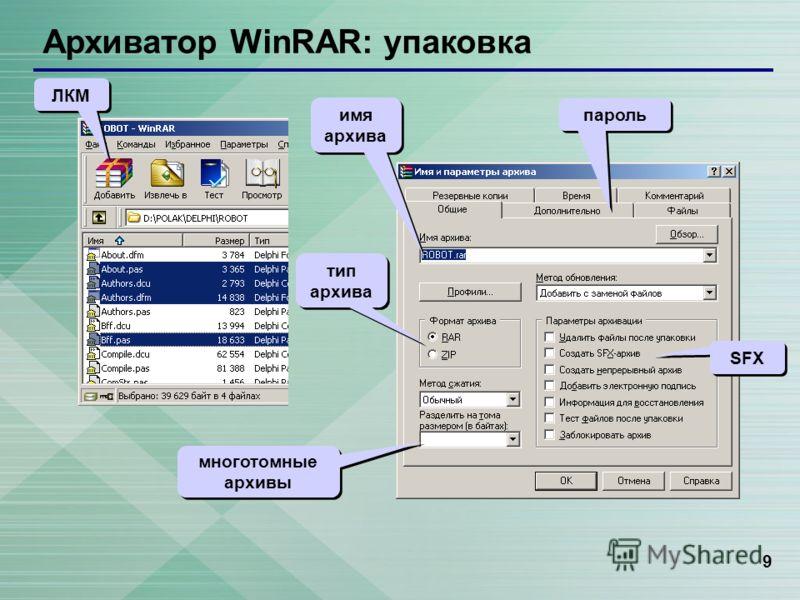 9 Архиватор WinRAR: упаковка ЛКМ тип архива SFX многотомные архивы пароль имя архива