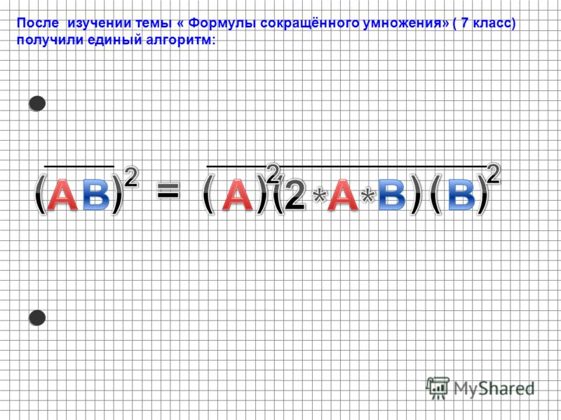 После изучении темы « Формулы сокращённого умножения» ( 7 класс) получили единый алгоритм: