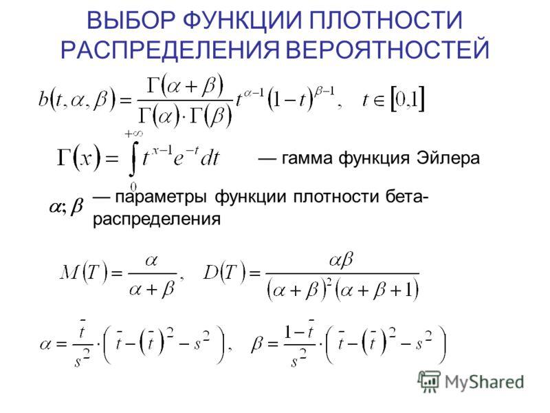 ВЫБОР ФУНКЦИИ ПЛОТНОСТИ РАСПРЕДЕЛЕНИЯ ВЕРОЯТНОСТЕЙ гамма функция Эйлера параметры функции плотности бета- распределения