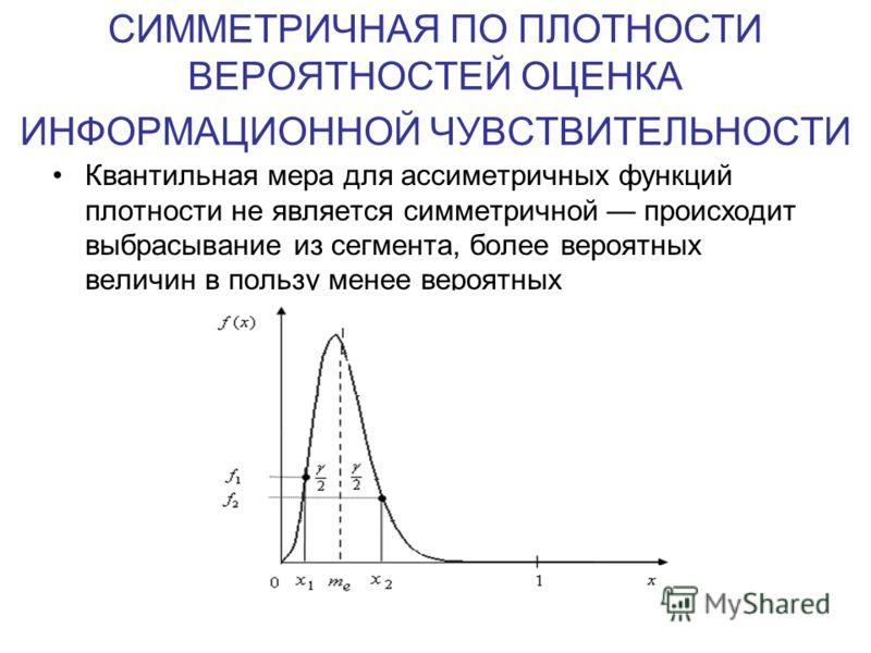 СИММЕТРИЧНАЯ ПО ПЛОТНОСТИ ВЕРОЯТНОСТЕЙ ОЦЕНКА ИНФОРМАЦИОННОЙ ЧУВСТВИТЕЛЬНОСТИ Квантильная мера для ассиметричных функций плотности не является симметричной происходит выбрасывание из сегмента, более вероятных величин в пользу менее вероятных