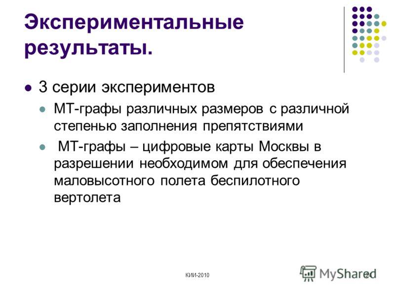 КИИ-201024 Экспериментальные результаты. 3 серии экспериментов МТ-графы различных размеров с различной степенью заполнения препятствиями МТ-графы – цифровые карты Москвы в разрешении необходимом для обеспечения маловысотного полета беспилотного верто