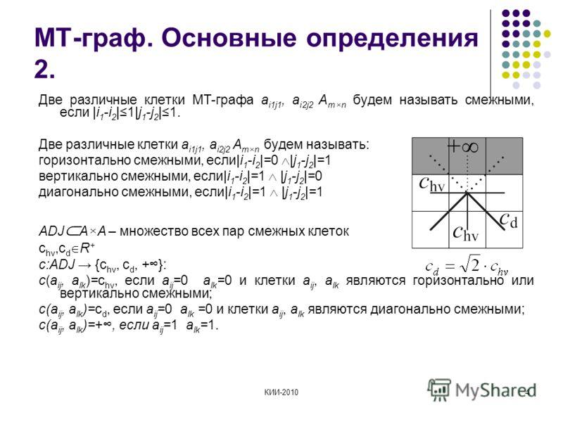 КИИ-20104 МТ-граф. Основные определения 2. Две различные клетки МТ-графа a i1j1, a i2j2 A m×n будем называть смежными, если |i 1 -i 2 |1|j 1 -j 2 |1. Две различные клетки a i1j1, a i2j2 A m×n будем называть: горизонтально смежными, если|i 1 -i 2 |=0