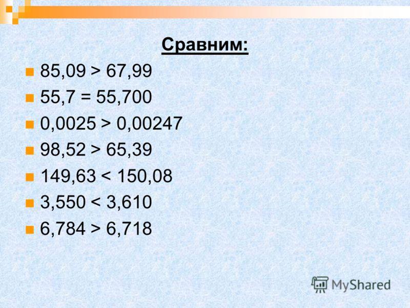 Сравним: 85,09 > 67,99 55,7 = 55,700 0,0025 > 0,00247 98,52 > 65,39 149,63 < 150,08 3,550 < 3,610 6,784 > 6,718