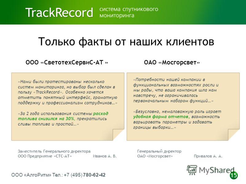 ООО «АлгоРитм» Тел.: +7 (495) 780-62-42 15 Только факты от наших клиентов «Нами были протестированы несколько систем мониторинга, но выбор был сделан в пользу «TrackRecord». Особенно хочется отметить понятный интерфейс, грамотную поддержку и професси