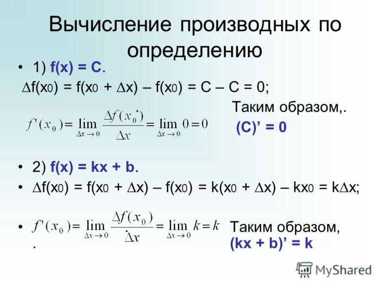 Вычисление производных по определению 1) f(x) = C. f(x 0 ) = f(x 0 + x) – f(x 0 ) = C – C = 0;. Таким образом,. (С) = 0 2) f(x) = kx + b. f(x 0 ) = f(x 0 + x) – f(x 0 ) = k(x 0 + x) – kx 0 = k x;. Таким образом,. (kx + b) = k